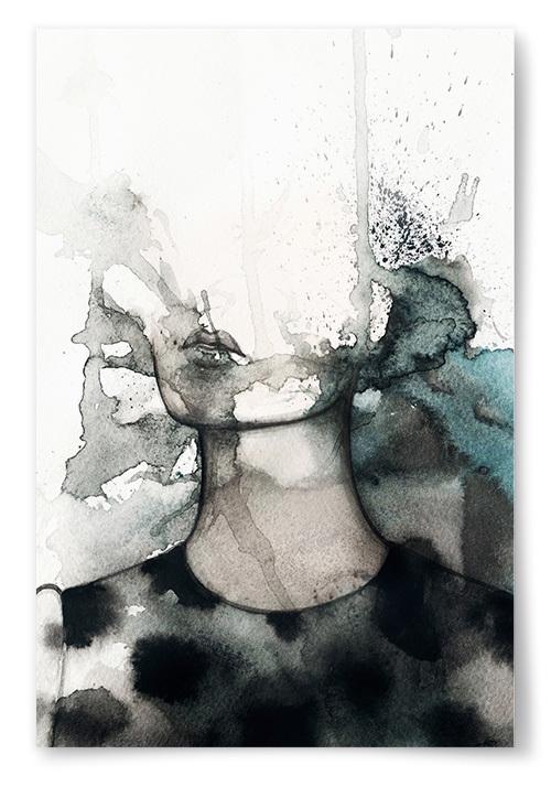 Poster Kvinna Akvarell
