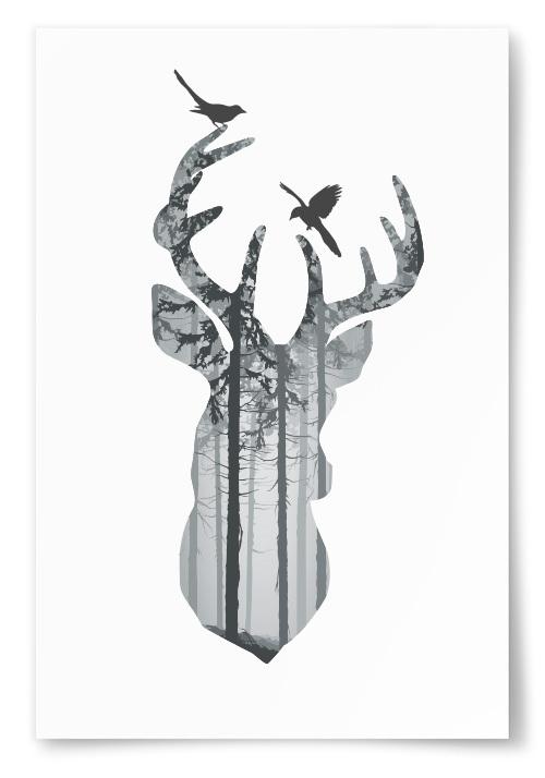 Poster Hjorthuvud Skogsilhuett