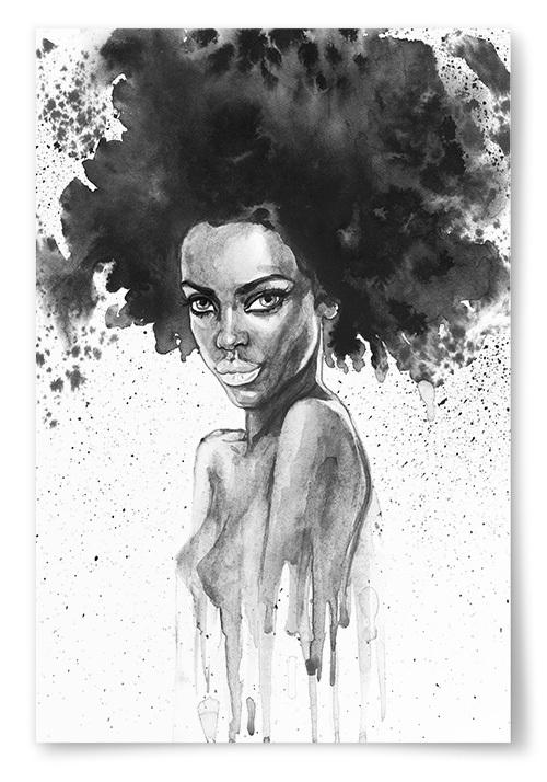 Poster Afrikansk Kvinna Akvarell No.1