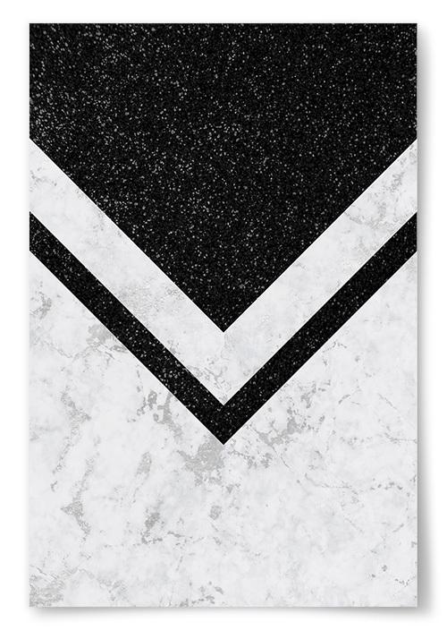 Poster Svart med Marmor